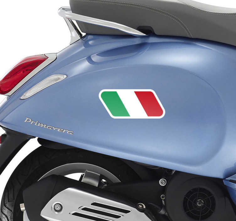 TenStickers. Sticker drapeau italien moto. Sticker du drapeau de l'Italie. Cet autocollant est parfait pour décorer votre véhicule (moto ou voiture) et même votre maison.