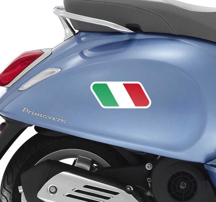 TenStickers. Adesivo para moto bandeira italiana. Adesivo para mota bandeira de Itália. Aqui está o vinil adesivo que a sua mota italiana necessita para lhe dar mais vida, alma e desportivismo!