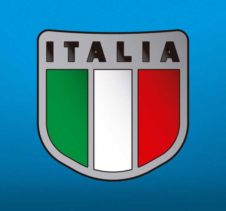 TenVinilo. Pegatina bandera de Italia. Vinilo decorativo con un scudetto con los colores y bandera del país transalpino por antonomasia.