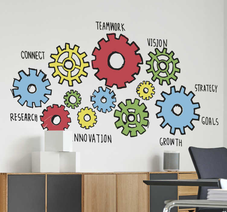 "TenStickers. Office Wall Machine Sticker. If you're looking to inspire your workers then this office wall sticker is the perfect piece of motivation! Featuring the design of various cogs all working in motion alongside words such as ""strategy"", ""research"", ""growth"", ""teamwork"" and ""connect""."