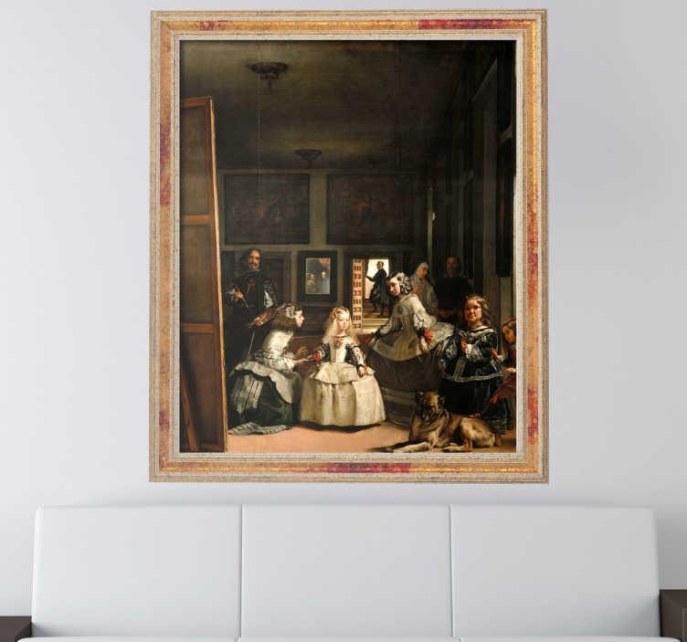 TenStickers. Muursticker schilderij Meninas, De Hofdames. Muursticker ontworpen met een schilderij met hierop de Meninas, in het Nederlands De Hofdames. Afmetingen aanpasbaar. Dagelijkse kortingen.