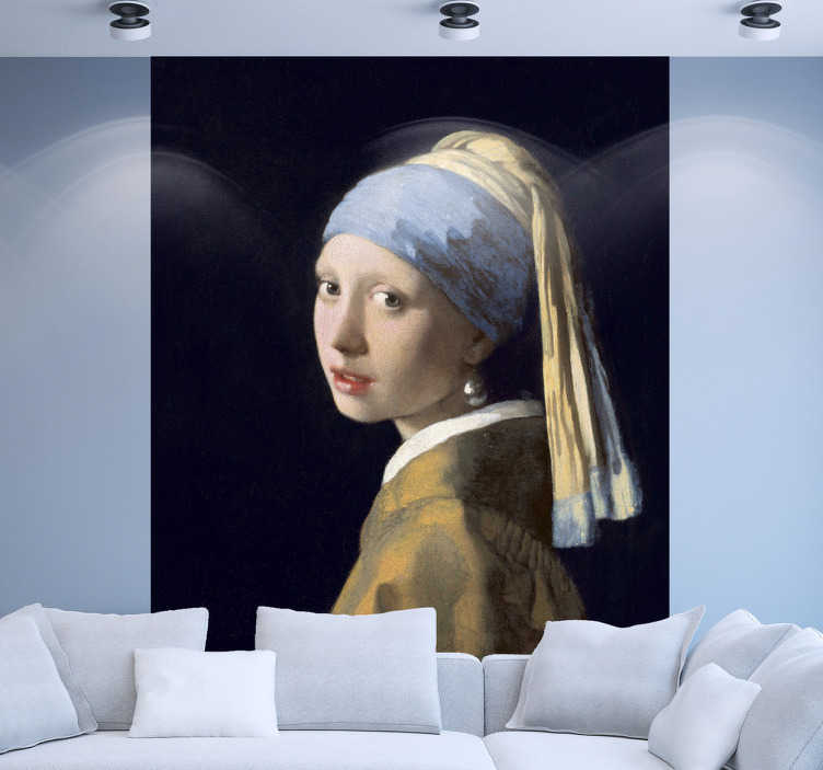 TenStickers. Naklejka słynny obraz kobieta z perłą. Naklejka winylowa z odtworzeniem sztuki Dziewczyny z perłą, by udekorować nią ściany Twojego domu i nadać im barokowy styl.