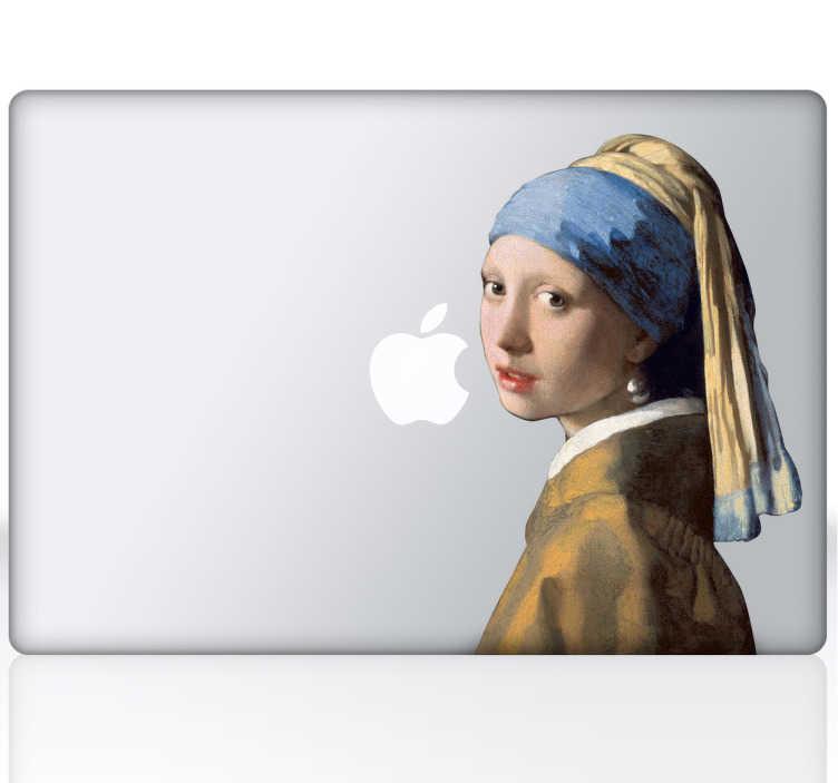 TenStickers. Sticker ordinateur tableau jeune fille à la perle. Sticker pour ordinateur du célèbre tableau la jeune fille à la perle du peintre néerlandais Johannes Vermeer. Parfait si vous êtes un amateur d'art.