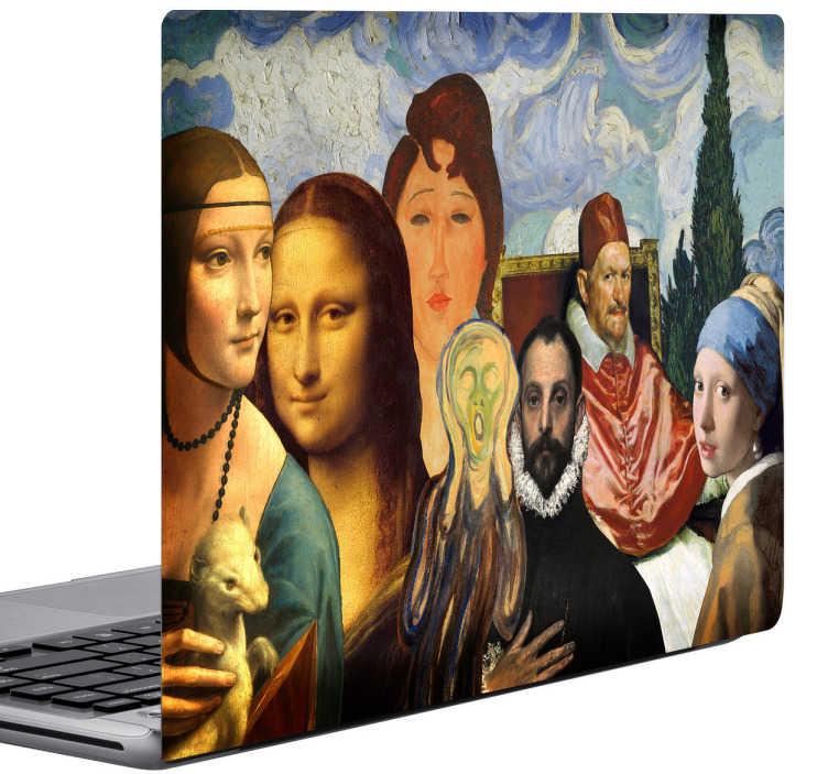 TenStickers. Sticker ordinateur tableaux célèbres. Faites de votre ordinateur une véritable œuvre d'art unique avec ce sticker représentant plusieurs tableaux célèbres tel que la Joconde, les Ménines.
