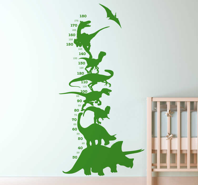 TenStickers. Meetlat sticker met Dinosaurussen. Deze interessante en leuke dinosaurus sticker is een perfecte groeimeter voor uw kinderen! De groeimeter bestaat uit een lengte van 180 cm.