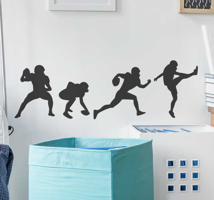 TenStickers. Wallsticker football player poses. This wall sticker is perfect for anybody who is fan of this great American sport. It has the football players in different positions ready to play.