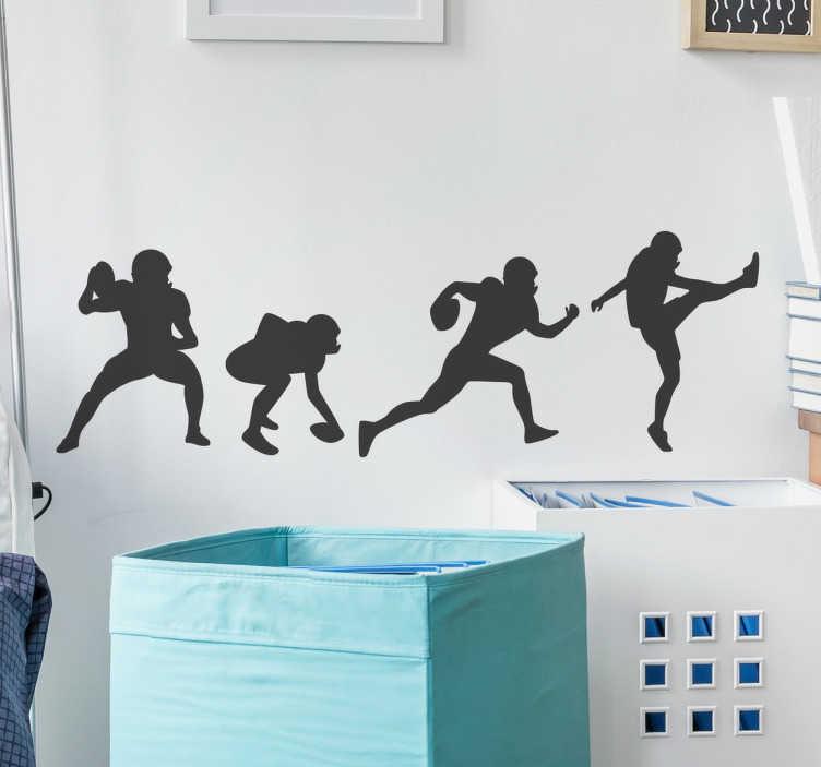 TenStickers. muurdecoratie American football posities. De muurdecoratie voor American football fans is hier! Deze sticker geeft de silhouet weer van de meest bekende posities van een American footballer.