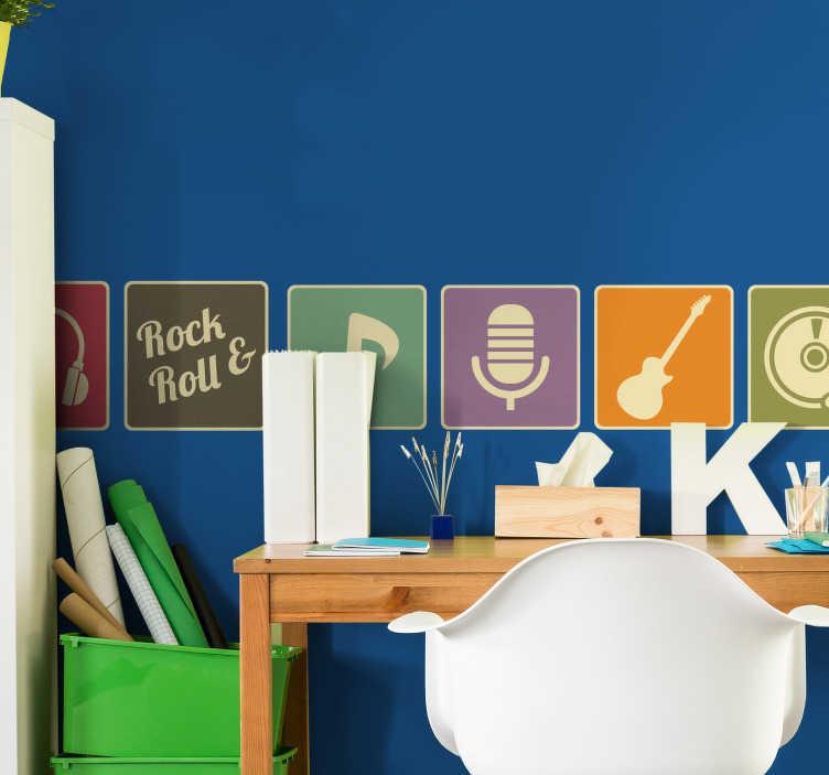 TenVinilo. Cenefa adhesiva pared años 80. Vinilos pared con cenefa multicolor y motivos musicales: clave de sol, notas musicales, auriculares, micrófono, instrumentos…
