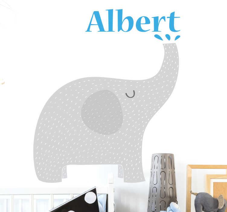 TenStickers. Adesivo personalizzabile proboscide elefante. Sticker che raffigura un tenero cucciolo di elefante che fa fuoriuscire dalla proboscide uno spruzzo d'acqua con il nome.