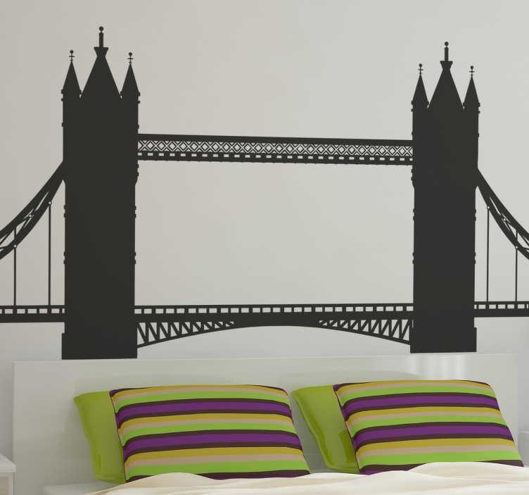 TenStickers. Sticker pont de Londres. Sticker décoratif du pont de Londres monochrome. Cet autocollant est parfait si vous aimez voyager.