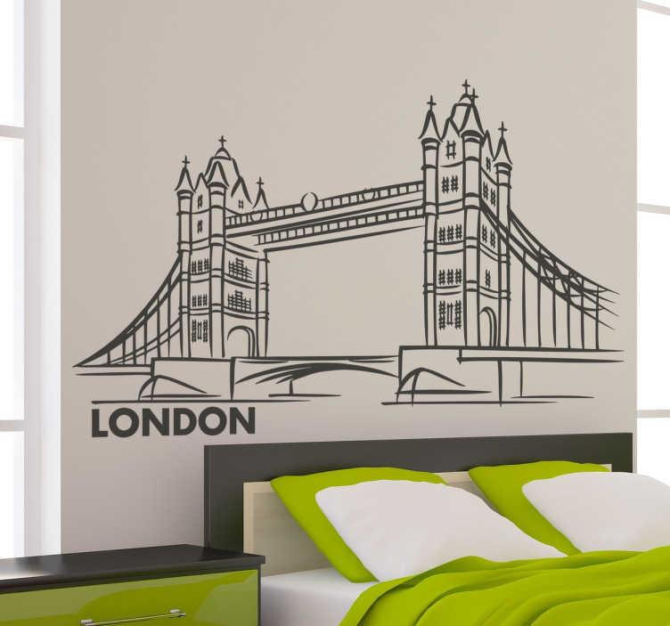 TenStickers. Sticker pont Londres. Sticker silhouette représentant le pont de Londres avec le texte 'London'.