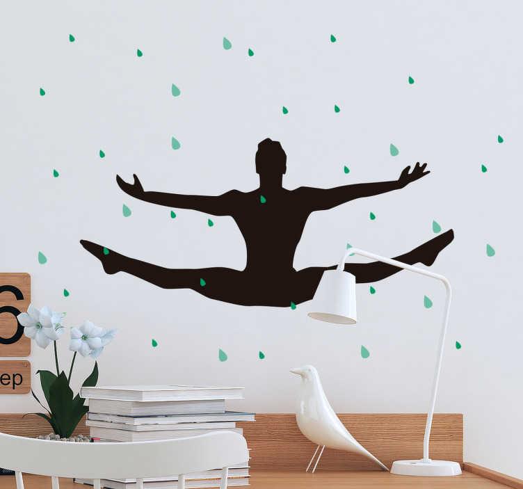 TenStickers. Wandtattoo Balletttänzer. Tolles Wandtattoo mit einem Balletttänzer der im Regen artistische Sprünge vollbringt.