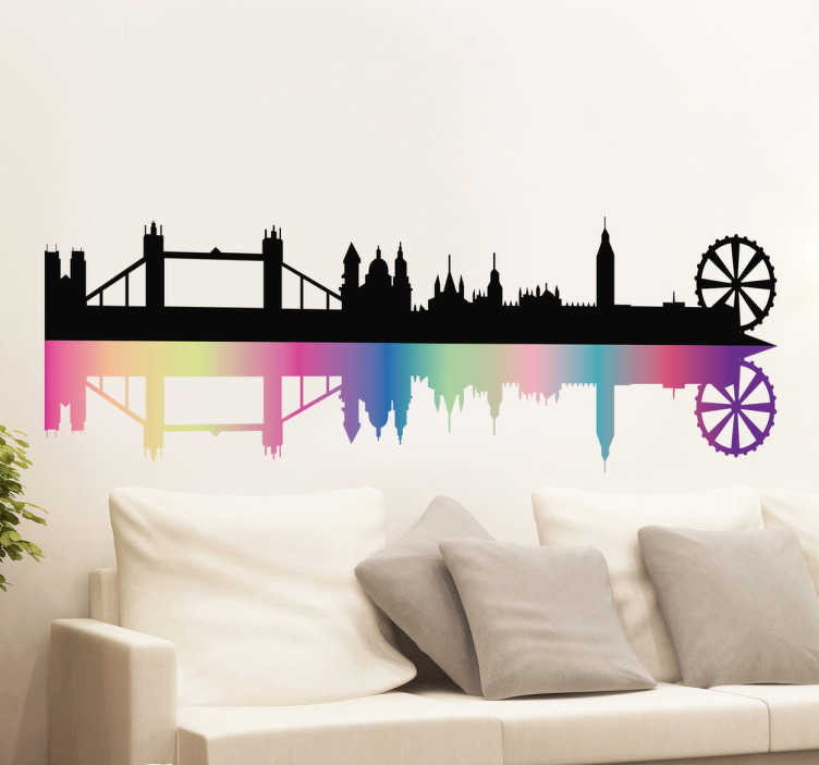 TenStickers. Sticker skyline Londres multicolore. Sticker représentant le skyline de Londres avec un reflet multicolore.