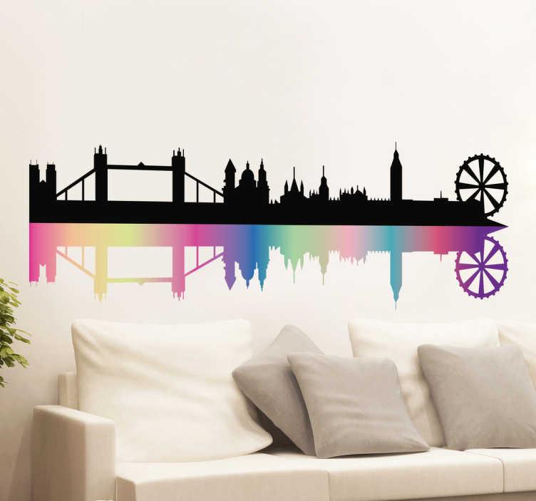Adesivo murale Skyline Londra Arcobaleno