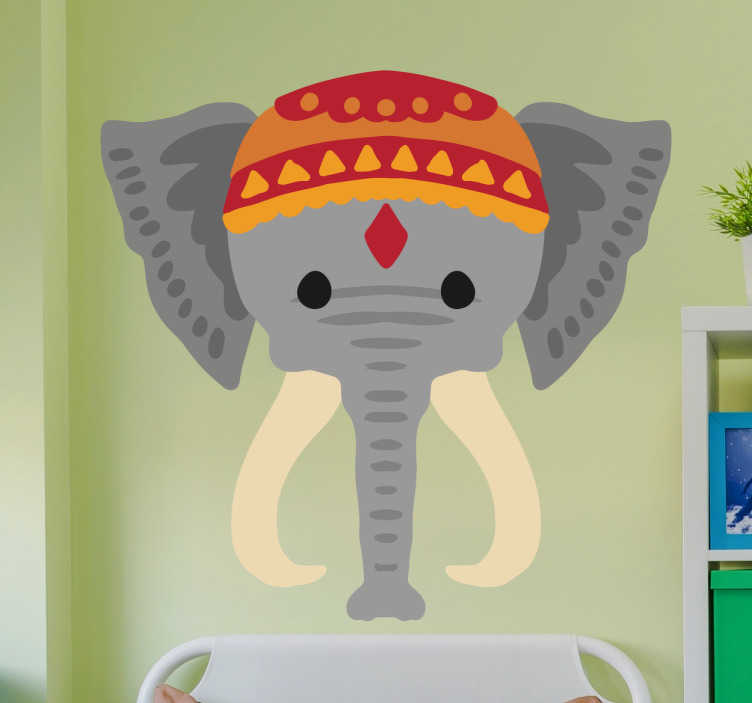 TenStickers. Sticker éléphant Inde. Sticker représentant un éléphant d'Inde avec un chapeau particulier. Cet autocollant est parfait pour décorer votre chambre, salon ou cuisine.