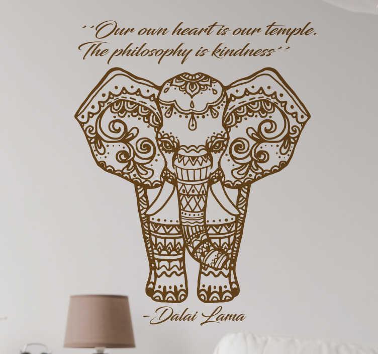 """TenVinilo. Vinilo decorativo Dalai Lama. Vinilo elefante que muestra la ilustración de un paquidermo con motivos tibetanos y la frase """"Our own heart is our temple. The philosophy is kindness"""""""
