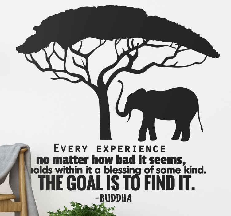 TenStickers. wanddecoratie Buddha quote. Een inspiratievolle muurdecoratie die de befaamde woorden van Boeddha presenteert, samen met de silhouet van een grote olifant.