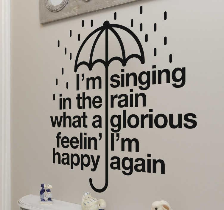 """TenVinilo. Vinilo letra canción cantando bajo la lluvia. Vinilo decorativo con el estribillo de tu canción de película favorita """"Singing in the rain"""" junto a un paraguas bajo la lluvia."""