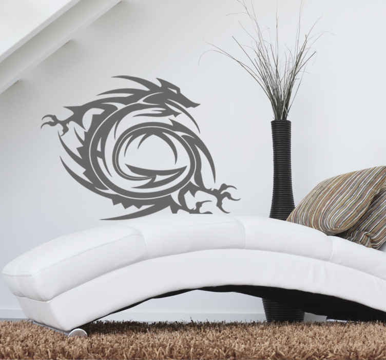 TenStickers. Muursticker Chinese draken krul. Deze rode met zwarte decoratieve muursticker van een chinees draak is alles wat je zoekt om de mysterie van het verre oosten in huis te halen!
