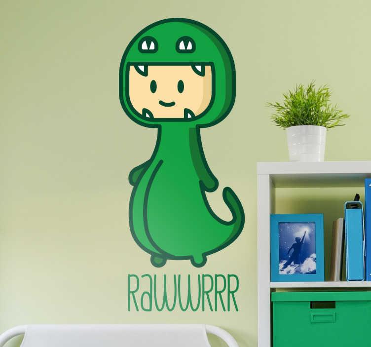 """TenStickers. Wandtattoo Kind im Dinosaurier Kostüm. Niedliches Wandtattoo mit einem Kind im Dinosaurierkostüm und dem Ausruf """"Rawr!"""" darunter"""