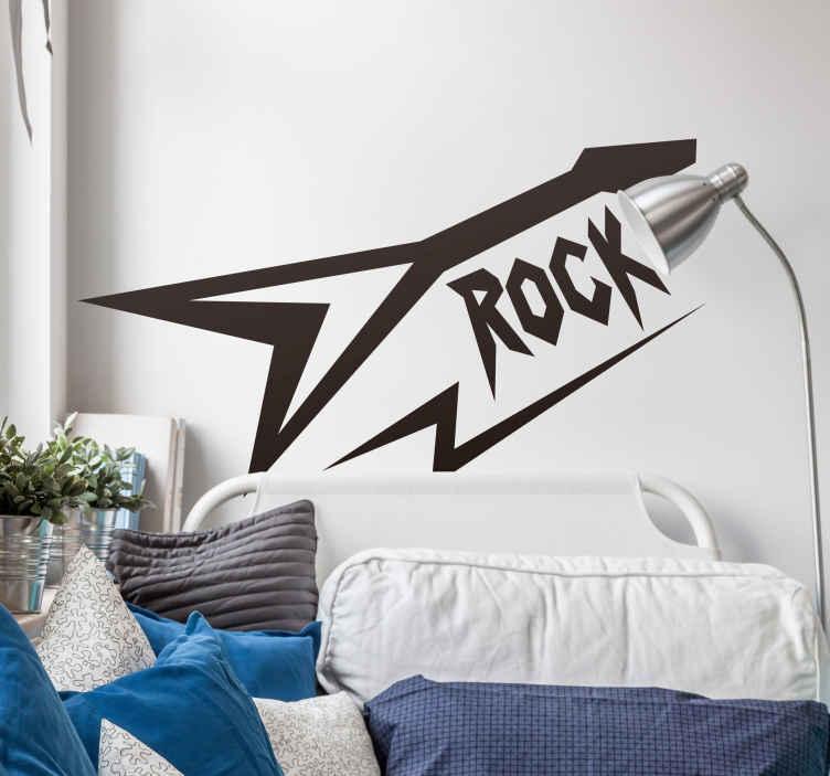 """TenStickers. Adesivo rock anni 80. Adesivo rock con la sagoma di una chitarra, un fulmine e la parola """"rock"""" con una tipografia angolosa e affilata"""