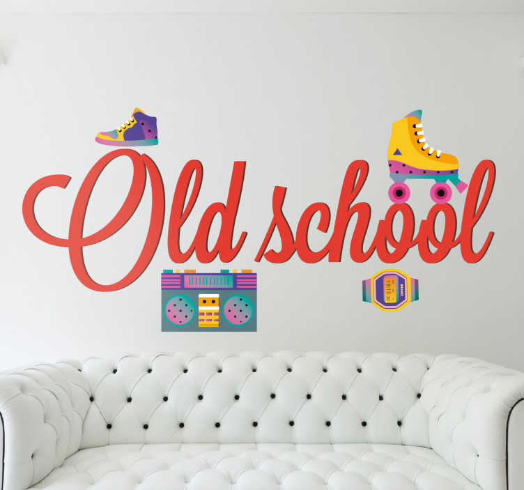 TenStickers. Naklejka Oldschool. Naklejka dekoracyjna prezentująca napis 'Oldschool' wraz z kasetą z lat 80', zegarkiem i rolkami.