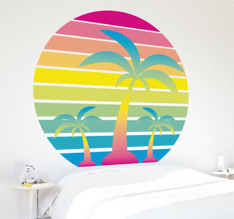 TenVinilo. Vinilo decorativo puesta de sol años 80. Vinilos verano con una paradisíaca ilustración en la que aparecen varias palmeras con una estética ochentera.