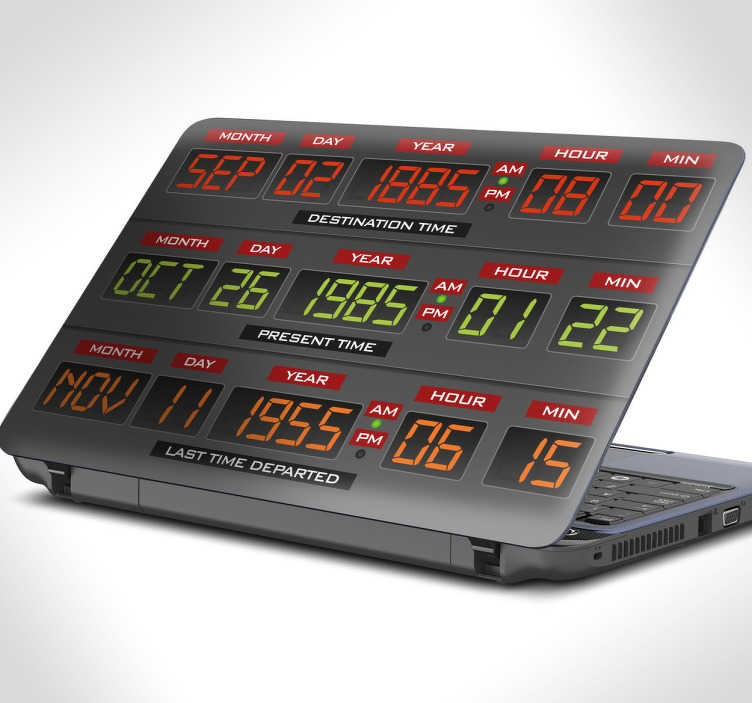 TenVinilo. Pegatinas portátil panel Regreso al Futuro. Vinilos para todo tipo de PC's con una revisión del panel de control temporal del Delorean de Back to the Future
