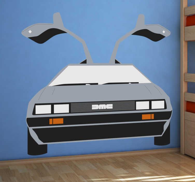 """TenStickers. Sticker voiture retour vers le futur. Sticker de la fameuse voiture qui apparaît dans le film """"retour vers le futur"""" avec les portes ouvertes en papillon."""
