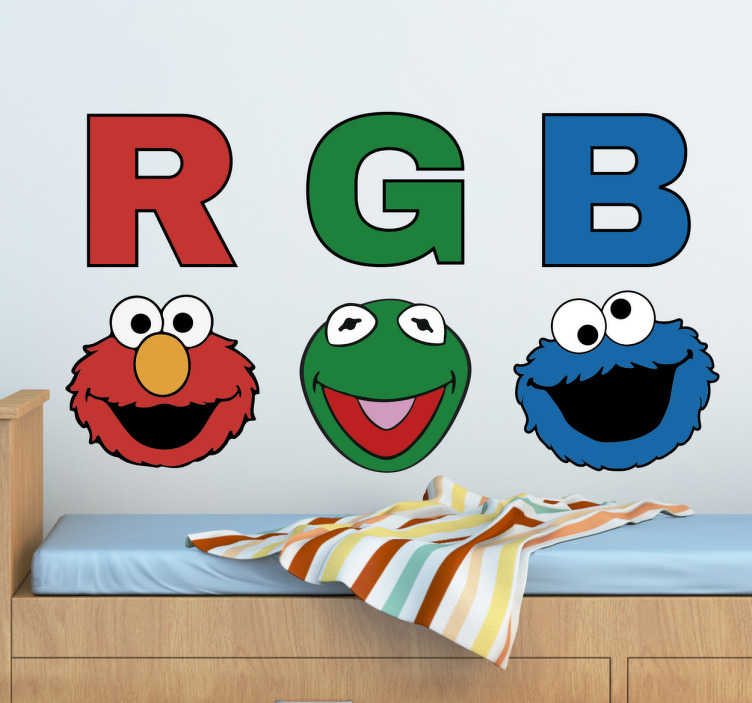 TenVinilo. Vinilo infantil RGB Barrio Sésamo. Vinilo Barrio Sésamo con ilustración de las caras de sus personajes y las iniciales de los colores de su piel (Red, Green y Blue o Rojo, Verde y Azul)