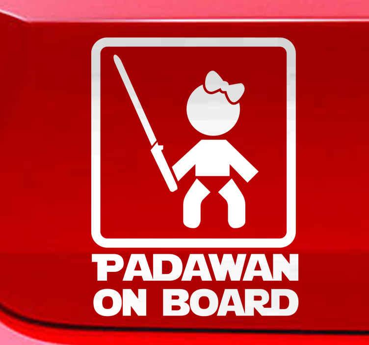 TenStickers. Naklejka Padawan on board dziewczynka. Naklejka winylowa na samochód  z napisami w języku angielskim ''Padawan on board'', by ostrzec innych kierowców o dziecku w samochodzie.