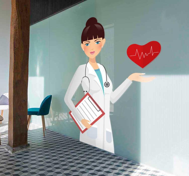 TenStickers. Wandtattoo Krankenschwester. Wandtattoo mit freundlicher Krankenschwester mit einem Herz auf der Hand