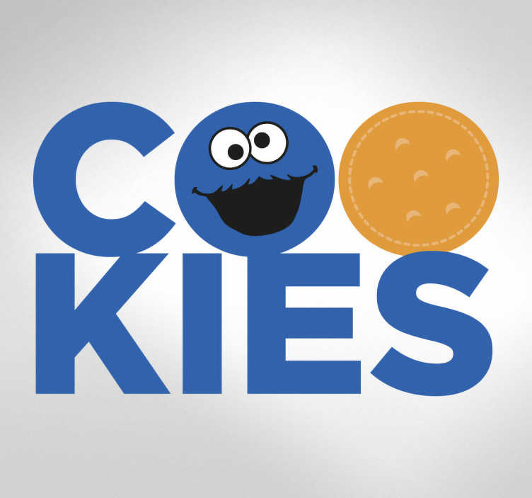 TenStickers. Naklejka tekst COOKIES ciasteczkowy potwór. Dekoracja ścienna przedstawiająca napis 'COOKIES' w którym literkę O zastąpił ciasteczkowy potwór a drugą literkę O ciastko.