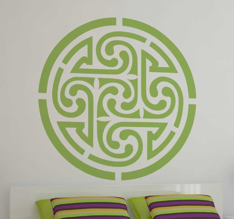 TenVinilo. Vinilo decorativo símbolos celtas. Vinilos ornamentales de forma circular basados en grafía simétricas celtas, una forma económica para darle un toque de elegancia a tu casa.