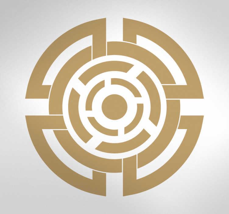 TenStickers. Muursticker Keltische cirkel. Deze muursticker heeft een belangrijk Keltisch symbool weergegeven. Dit symbool staat voor kracht en moed, en staat uitstekend op uw muur.