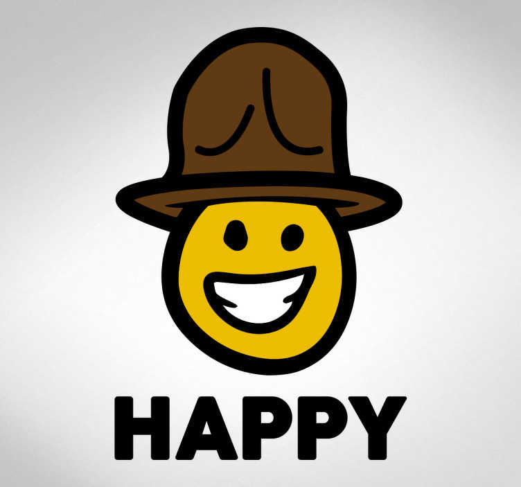 TenStickers. Sticker Happy émoji chapeau. Sticker Happy avec une illustration d'un émoji qui porte un chapeau et souriant en montrant ses dents blanches.