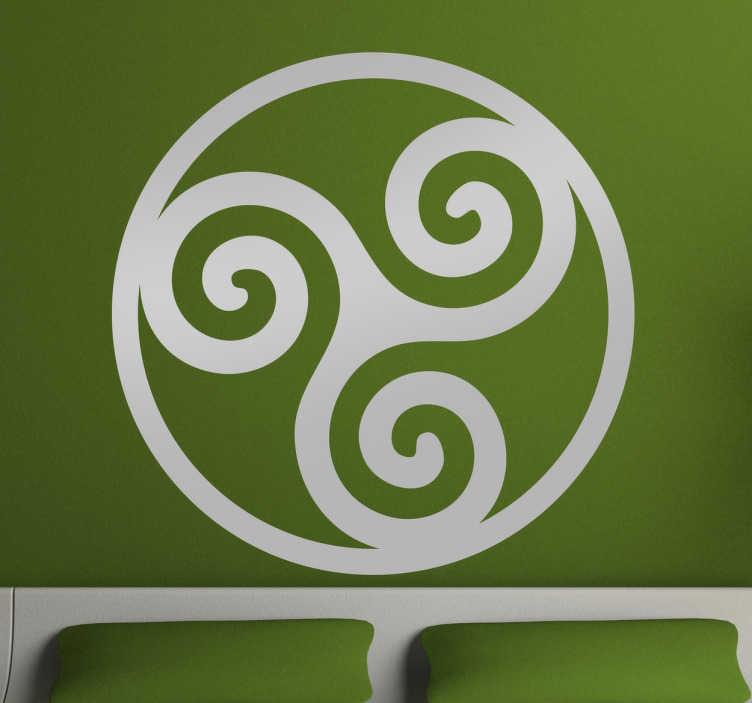TenVinilo. Vinilo decorativo símbolos celtas Trisquel. Vinilos murales con una representación del Triskelion, un icono de inspiración celta que consiste en tres espirales unidas.