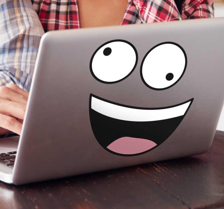 TenStickers. Laptop klistermærke, glad ansigt. Laptop klistermærke, glad ansigt - munter din laptop op med denne glade laptop klistermærke