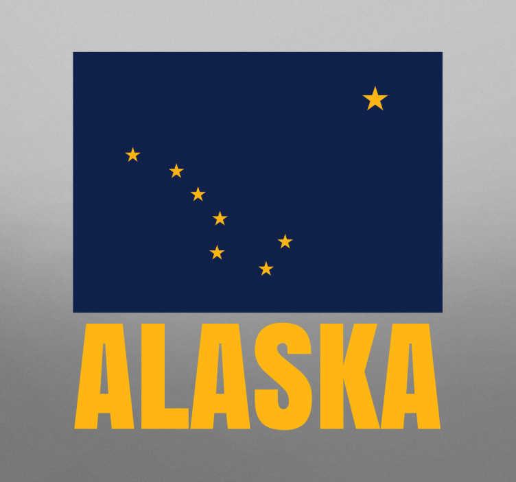 TenStickers. Dekorativt klistermærke, Alaska flag. Dekorativt klistermærke, Alaska flag - Er du en kæmpe fan af Alaska så er denne wallsticker lige noget for dig!