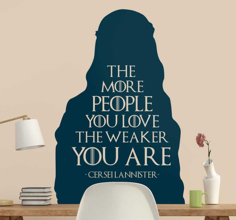 TenStickers. Muursticker game of thrones Lannister. Deze sticker is nieuw in onze collectie van stickers van de wereldberoemde serie ´Game of thrones´en omvat een beroemde quote van Cersei Lannister.