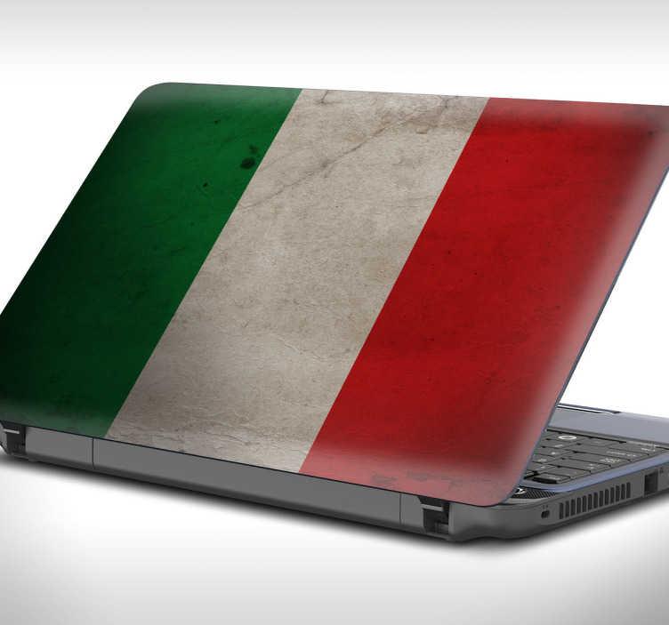 TenVinilo. Pegatina para portátil bandera italiana. Personaliza la tapa de tu ordenador con una representación del emblema del país transalpino.