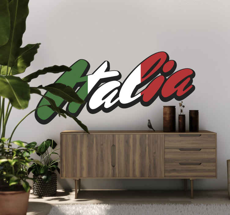 """TenStickers. Adesivo decorativo Lettering Italia. Adesivo decorativo con la parola """"Italia"""" con design old school caratterizzato dai colori della bandiera del Belpaese."""