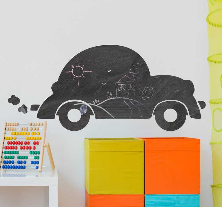 TenStickers. 자동차 칠판 벽 스티커. 어린이 스티커 - 자동차 칠판 어린이가 쓰거나 그림을 그릴 수있는 스티커! 침실이나 탁아소 벽 스티커로 사용할 수 있습니다.