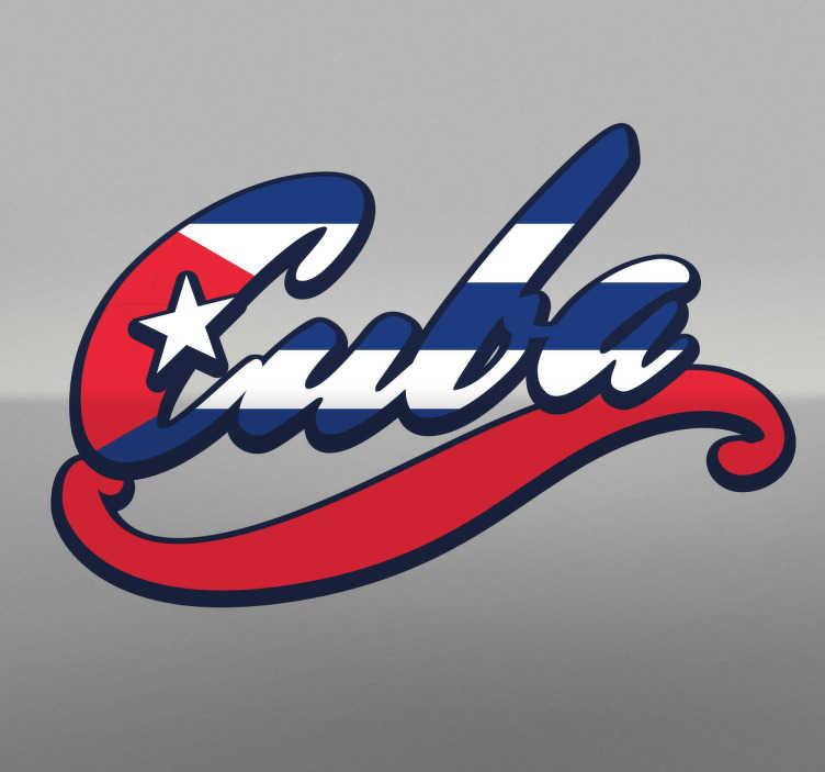 TenStickers. Sticker Cuba couleurs drapeau. Sticker avec le texte 'Cuba' et les couleurs du drapeau ainsi que l'étoile.