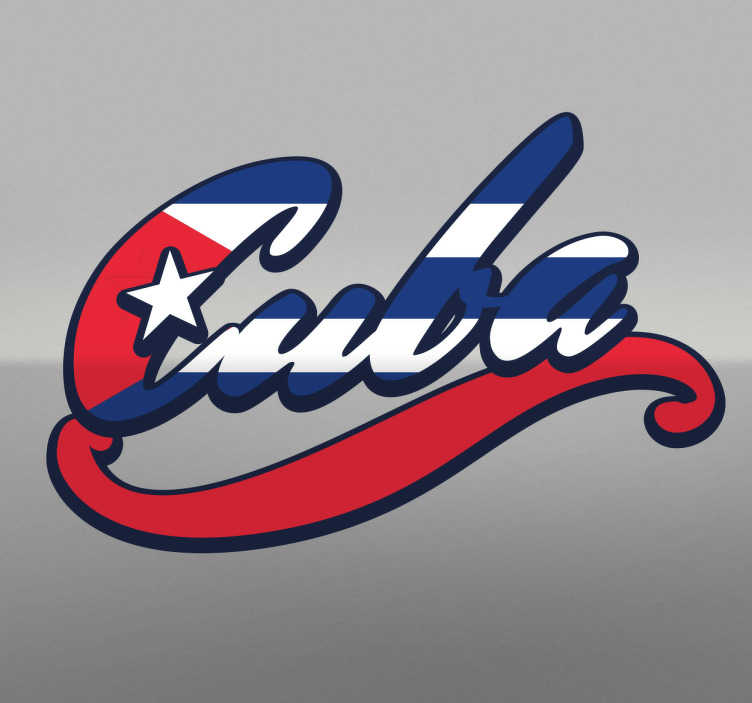 Adhesivo bandera de Cuba lettering