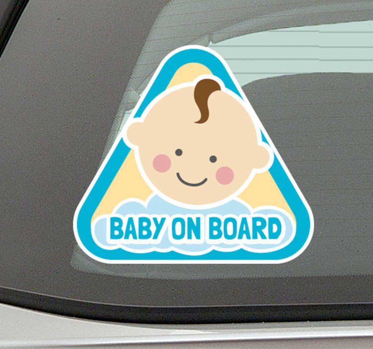 Tenstickers. Autotarra baby on board poika. Autotarra baby on board poika. Suloinen ja hauska tarra autoon kertoo muille liikenteessä oleville, että sinulla on vauva autosi kyydissä!