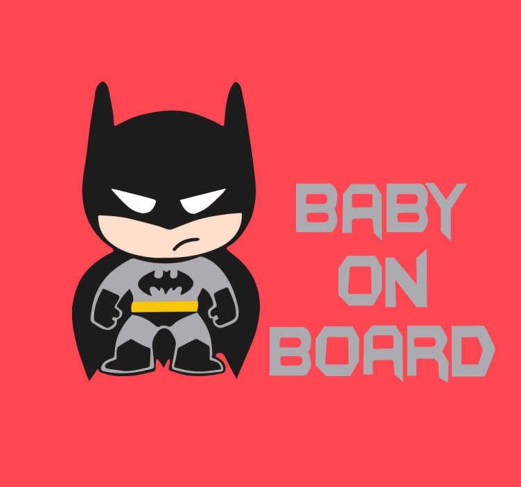"TenStickers. Klistermærke baby on board. Klistermærke ""baby on board"" - Fantastisk batman baby om bord sticker"