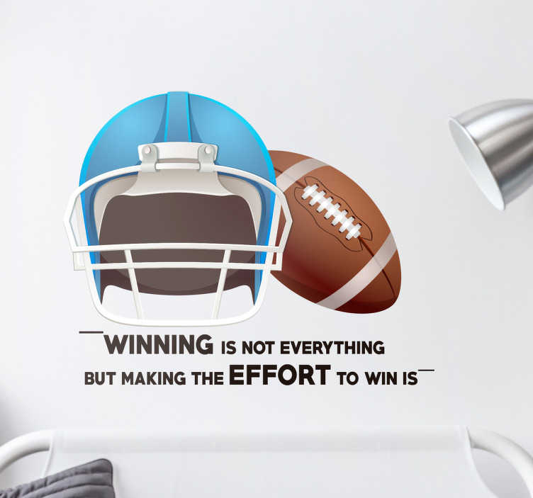 TenStickers. Sticker American football winning. Wanddecoratie sticker waar een helm en een football op is afgebeeld, geschikt voor American football fans. Express verzending 24/48u.