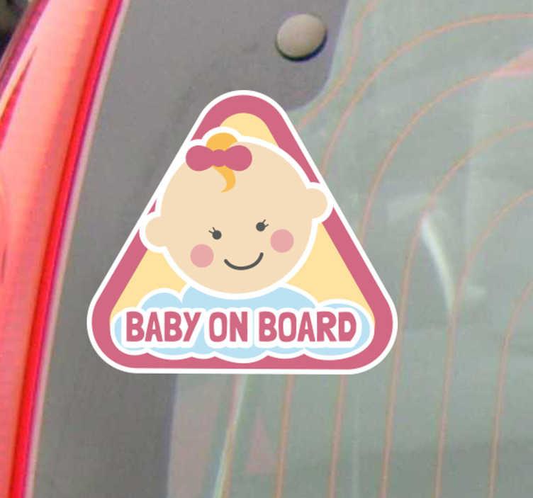 """Tenstickers. Autotarra Baby on board tyttö. Autotarra Baby on board tyttö. Suloinen tarra, jossa on pieni tyttövauva ja teksti """"Baby on board"""", kertoo muille vauvan olevan kyydissä."""