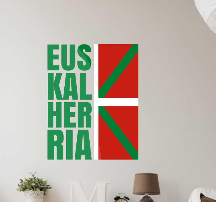 """TenVinilo. Adhesivo bandera de Euskadi. Vinilos de banderas con una representación del emblema nacional del País Vasco junto a la traducción de su nombre en Euskera, """"Euskal Herria""""."""